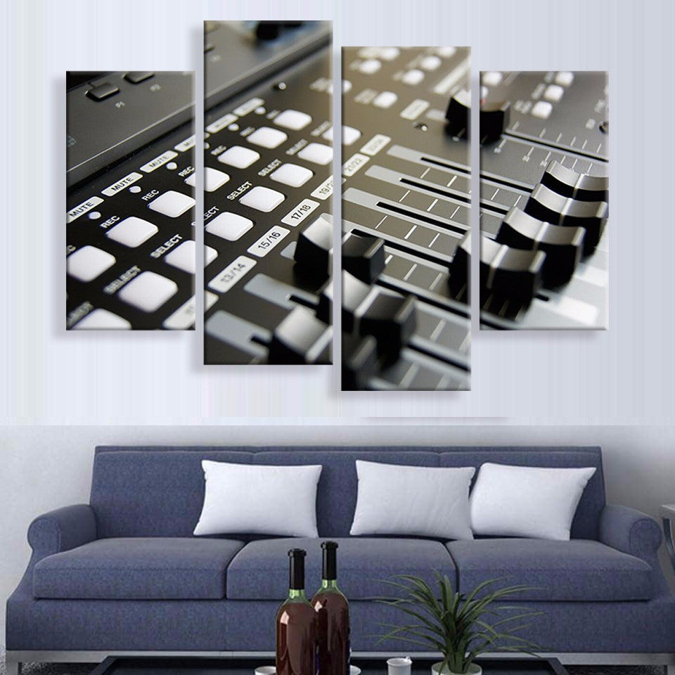 D.J Monitor Canvas 4 Pcs Wall Art