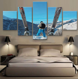Skiing 5 Pcs Canvas Wall Art