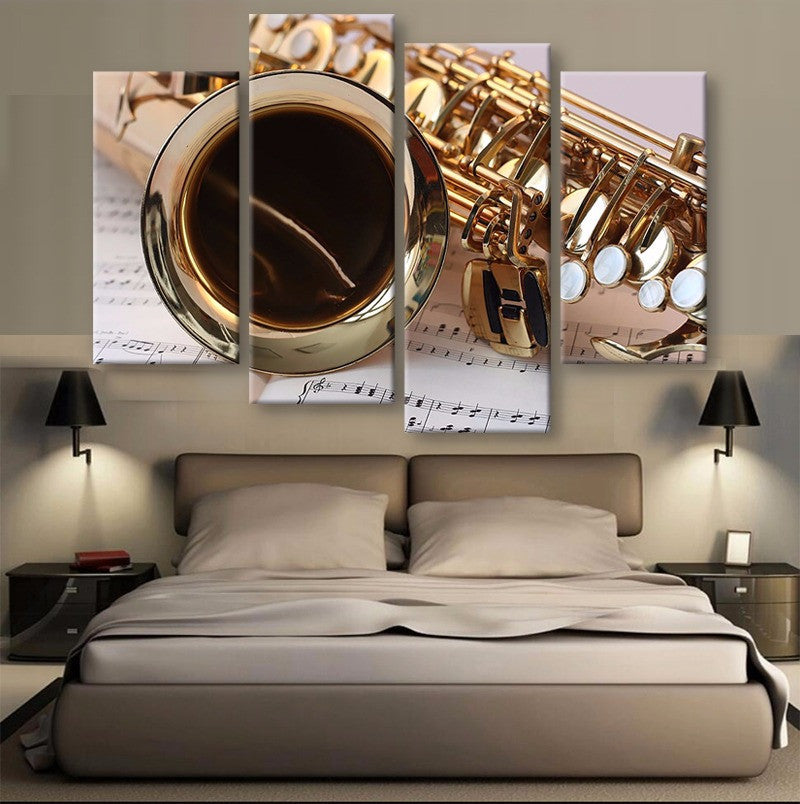 Saxophone Canvas 4 Pcs Wall Art