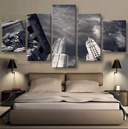 Chicago Skyline 5 Pcs Canvas Wall Art