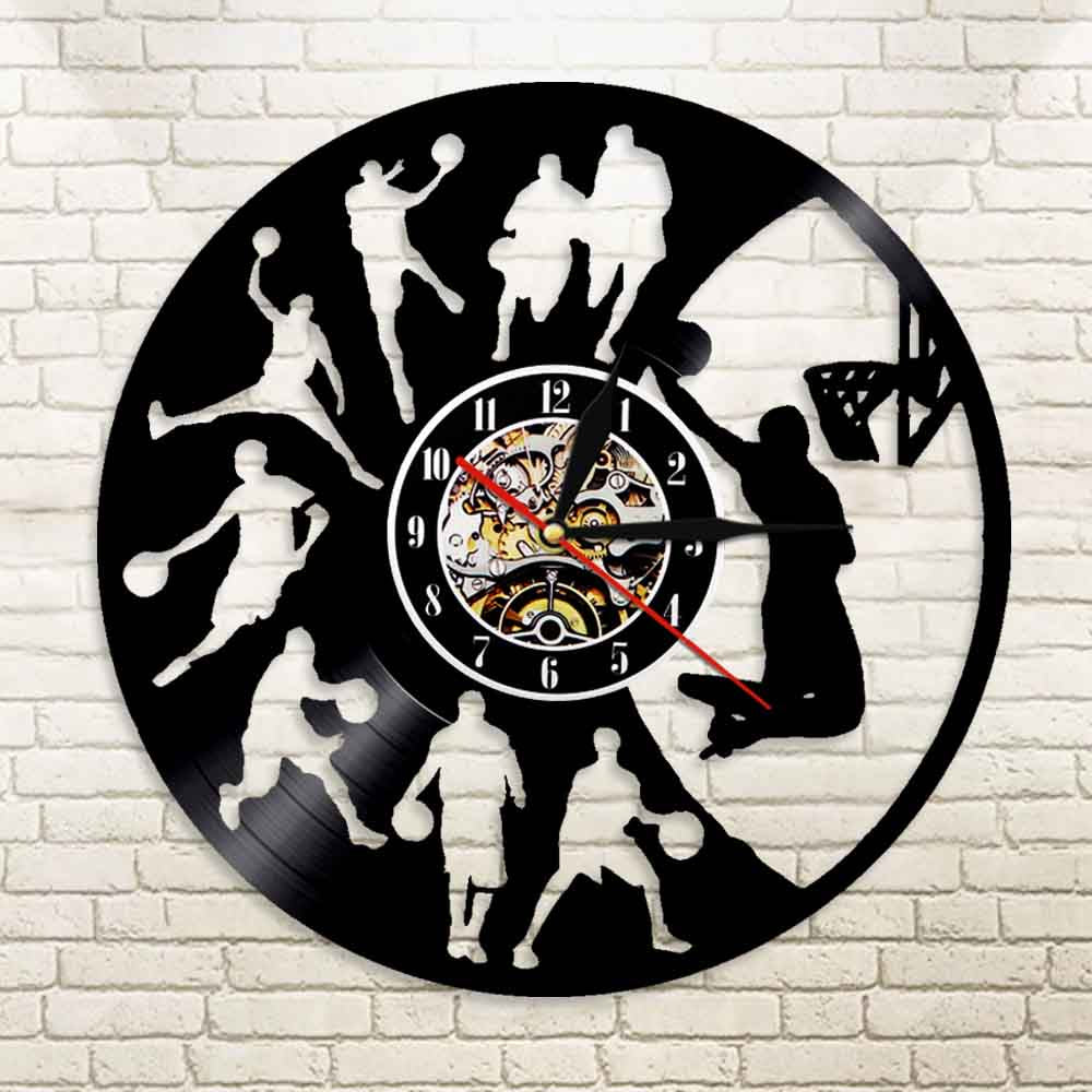 Vinyl Record Wall Clock - Basketball Style