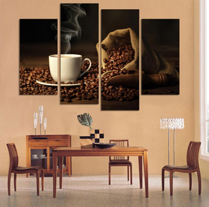 Coffee Break 4 Pcs Canvas Wall Art