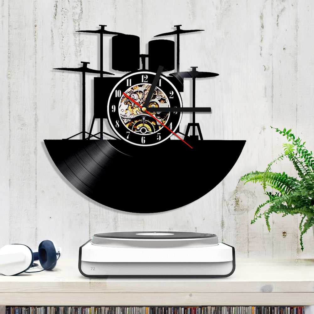 Vinyl Record Wall Clock - Drum Style