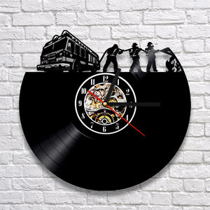 Vinyl Record Wall Clock - Firefighter Style