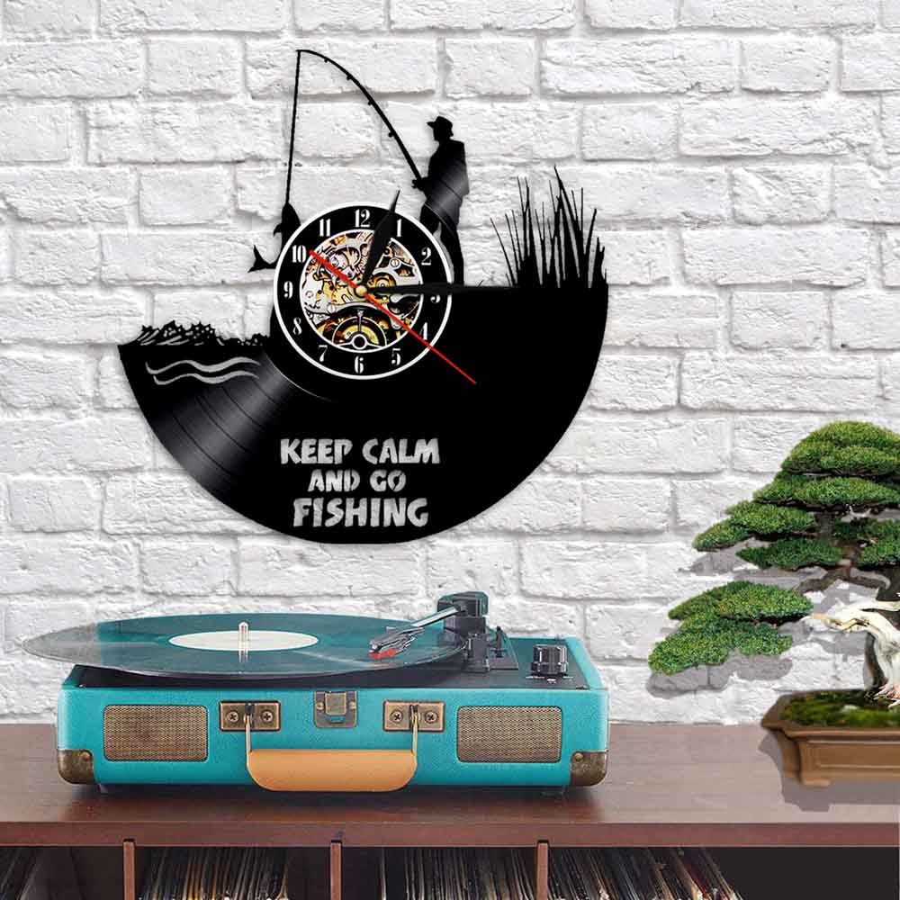Vinyl Record Wall Clock - Fishing Style