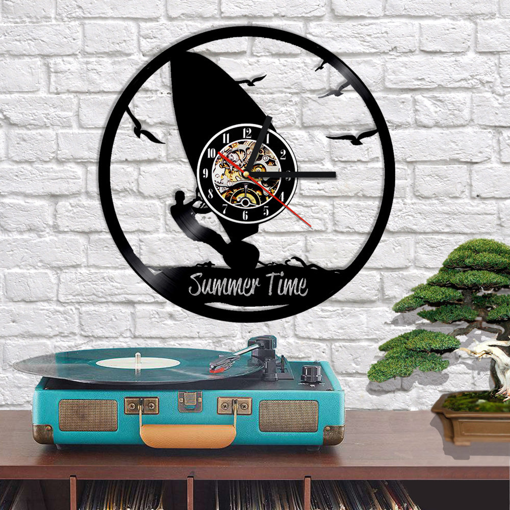 Vinyl Record Wall Clock - Kite Surfing