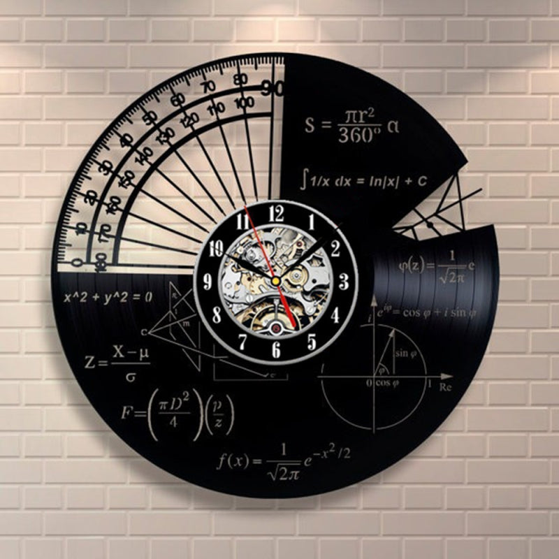 Vinyl Record Wall Clock - Math Style