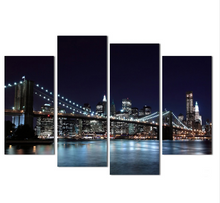 The City Night View 4 Pcs Wall Art Canvas