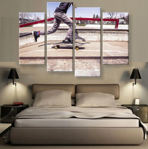Skateboarding 4 Pcs Wall Art Canvas