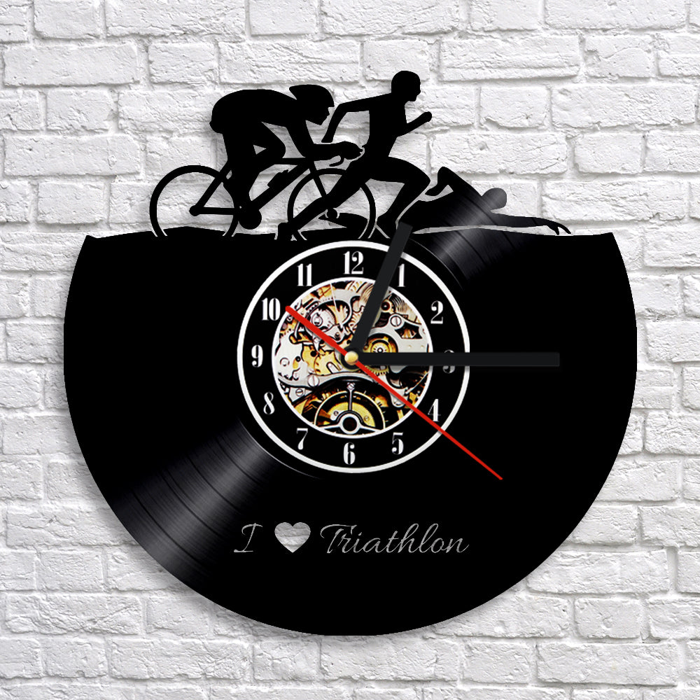 Vinyl Record Wall Clock - Triathlon Style