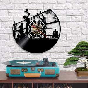 Vinyl Record Wall Clock - Volleyball Style