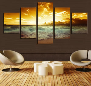 Stunning Surfing Sea And Sky  5 Pcs Wall Art Canvas