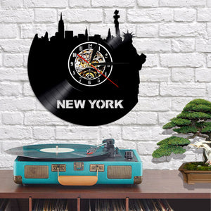 Vinyl Record Wall Clock - New York Style
