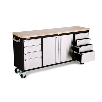 "Trinity 72"" Black Rolling Workbench with Stainless Steel Face TLS-7205 - Tool Chest King"
