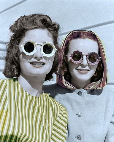 During World War 2, people at home reinvented the round sunglasses. They had ornate sunglasses that were thick and colorful and some of them resembled flowers.