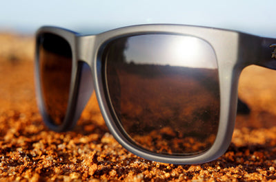 Black polarized sunglass in the sun with UV protection