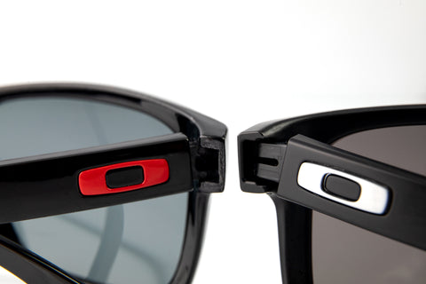 The outside temple comparsion on the Oakley logo on real and fake Holbrook sunglasses