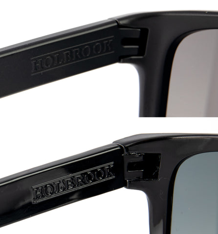 The difference in font between a real Oakley Holbrook and a fake Oakley Holbrook