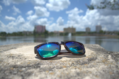 Blue polarized sunglasses with UV protection with the Lakeland, Florida skyline