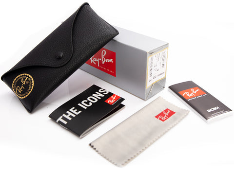 Ray-ban case, Ray-Ban purchase box, Ray-Ban cleaning cloth and a Ray-Ban booklet