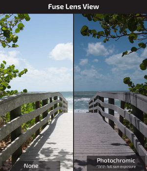 A side by side photo shows view with and without photochromic lenses