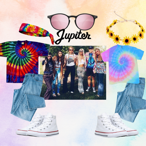 Collage style photo shows costume ideas with example in middle