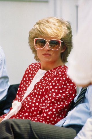 The 1980's was a time of big hair and bright colors. Princess Diana would sometimes match her sunglasses to her outfits.