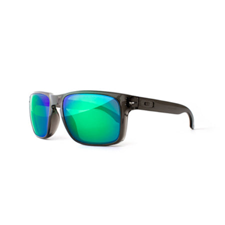 Fuse Lenses Sapphire Green Mirror replacement lenses shown in Oakley Holbrook frames