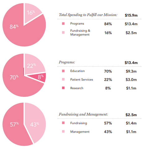 2018 Financial report of the National Breast Cancer Foundation on how they spent their donation money