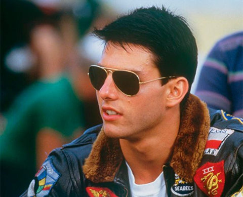In the 1980s' movie Top Gun, Tom Cruise wore Ray-Ban Aviators.