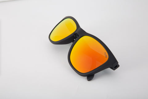 photo of black sunglasses with orange and yellow frames