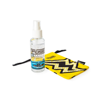 cloth and spray for cleaning sunglasses from Fuse Lenses