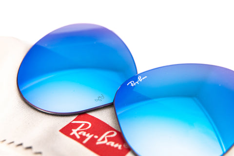 Blue Ray-Ban lenses with the Ray-Ban cleaning cloth