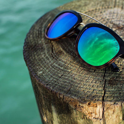 Blue-green mirrored polarized Fuse plus sunglasses.