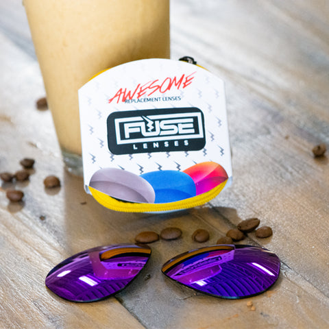 Fuse Lenses purple replacement lenses with iced coffee at a coffee shop