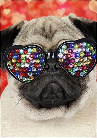 Pug wearing heart-shaped, multicolored bedazzled sunglasses.
