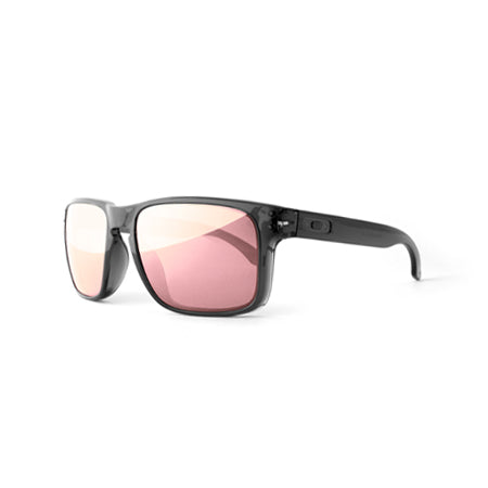 Fuse Lenses Rose Gold Pink Mirror replacement lenses shown in Oakley Holbrook frames
