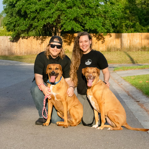Fuse Lenses employees Jessica and Zach kneeling with dogs outdoors at golden hour in a cul-de-sac