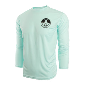 Seafoam Mens UV Long Sleeve with Anchors Away Logo small medium large xl