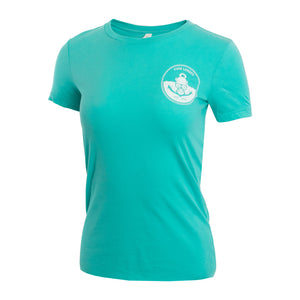 Teal Womens T-shirt with Anchors Away logo small medium large xl
