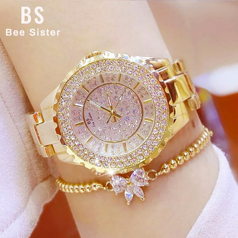 Women Watches Gold Luxury Brand Diamond Quartz Ladies Wrist Watches Stainless steel *Free Shipping