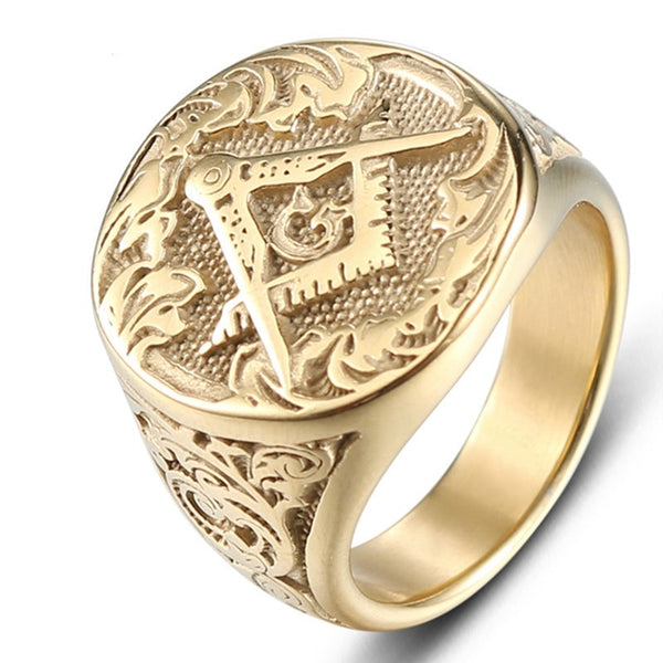 Stainless Steel Ring Gold Masonic AG Ring men's Rings Jewelry High Quality Biker Jewelry Accessories *FREE SHIPPING