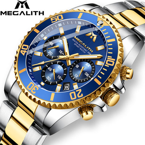 Luxury Mens Watches Sports Chronograph Waterproof Analog 24 Hour Date Quartz Watch Full Steel Wrist Watches Great Buy ***Free Shipping