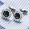 Sea Blue Crystal Cuff links Top Quality Lawyer Groom Wedding Cufflinks Shirt Cuffs