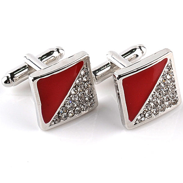 New High Quality Luxury Business Square Rhinestone Cufflinks for Men Classic Elegant Fashion Male French Shirt Silver Cuff Links *Free Shipping