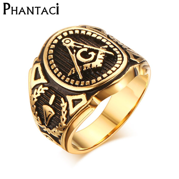 Stainless Steel Men Ring Gold Free Mason Freemasonry Masonic Male Retro Punk Black Brand Ring Jewelry