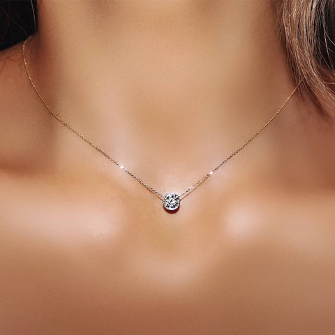 Simply Small Round 1 carat Cubic Zirconia Rose Gold Color Pendant Necklace Hot Jewelery for Women and Girls *Free shipping