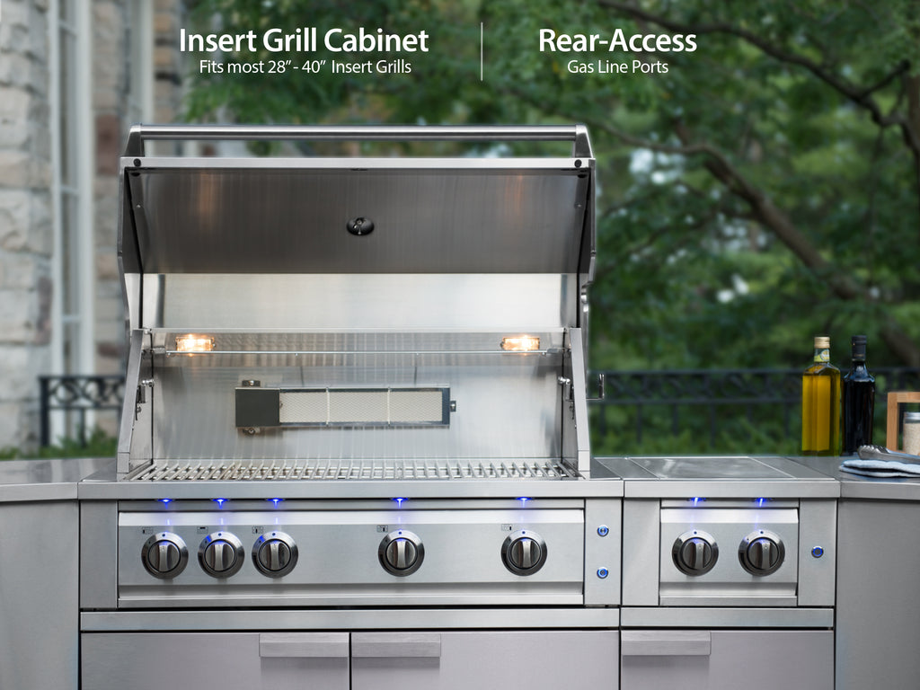 "Stainless Steel / Include Covers & Countertops / 33"" Grill & Grill Cabinet"