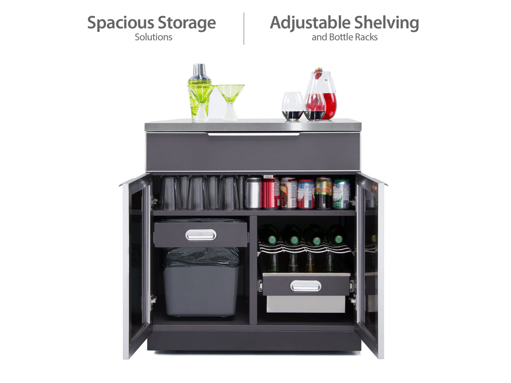 "Slate Grey / Include Covers & Countertops / 33"" Grill & Grill Cabinet"