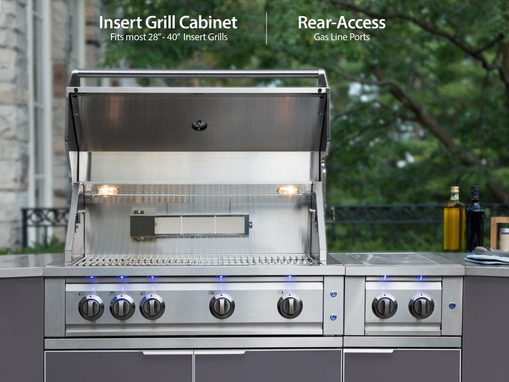 "No Covers or Countertops / Slate Grey / 33"" Grill Cabinet"